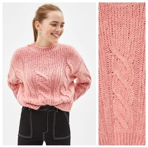 NWT. Bershka Dirty Pink Cable-knit Sweater. Size S